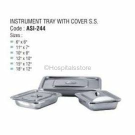 """Instrument Tray S.S with Cover, Size: 9"""" X 6"""""""