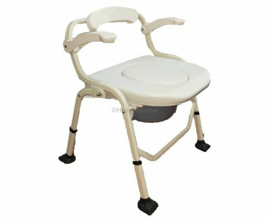 Deluxe Commode Chair with armrest (Soft Cushion)